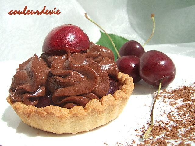 tartelettes aux cerises et mousse mascarpone chocolat