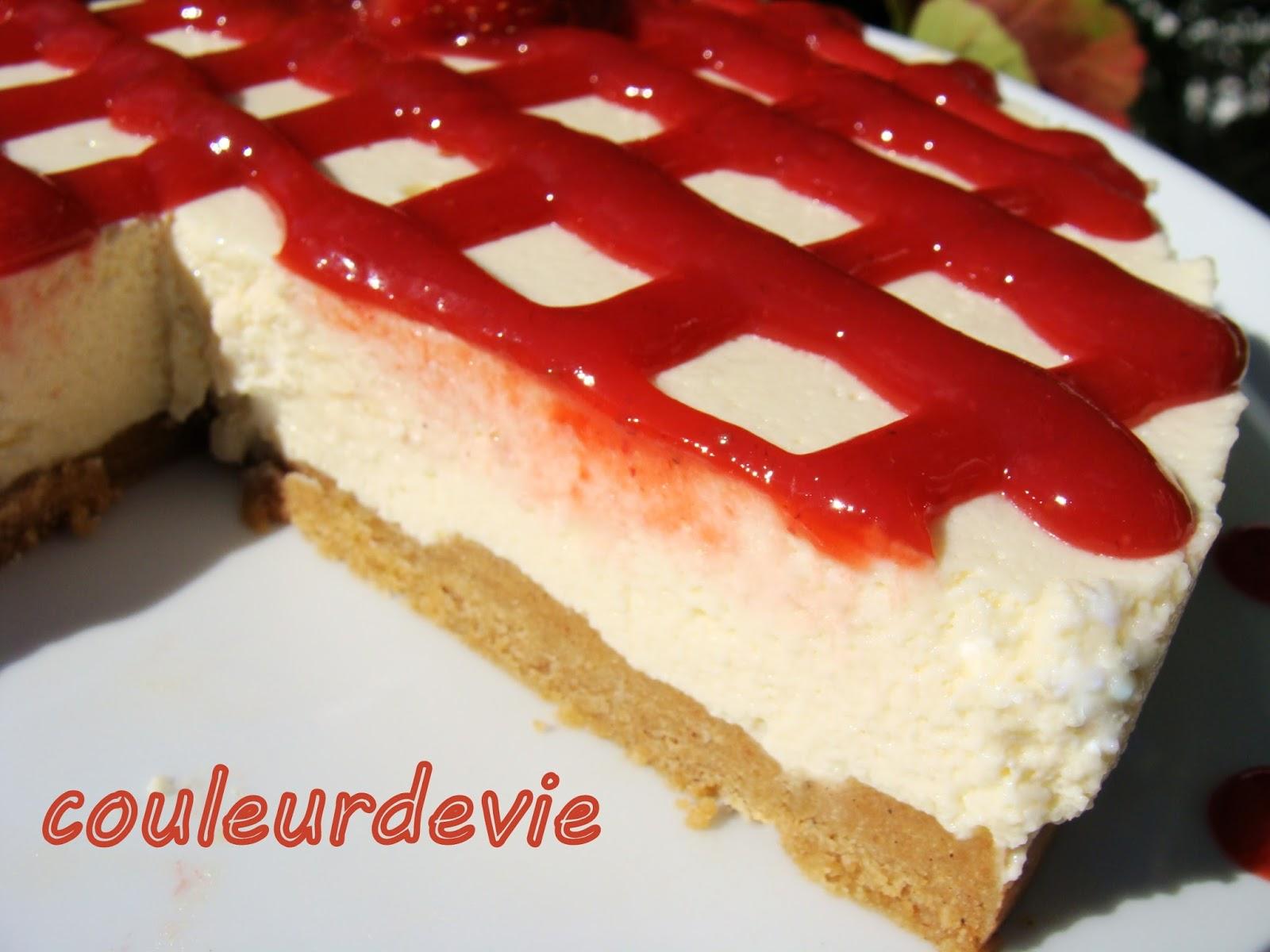 Cheesecake vanille au coulis de fraises (sans cuisson ...